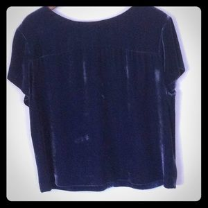 Jcrew navy velvet blouse.